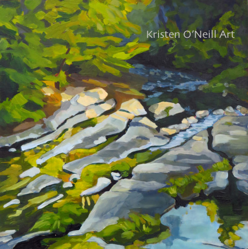 Painting of Little River showing bedrock in the Umpqua National Forest