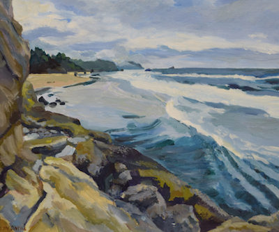 Painting Beach cliffs old highway