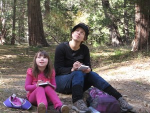 My daughter and I drawing after lunch on a hike in Yosemite Valley.