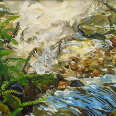 Landscape painting creek with ferns