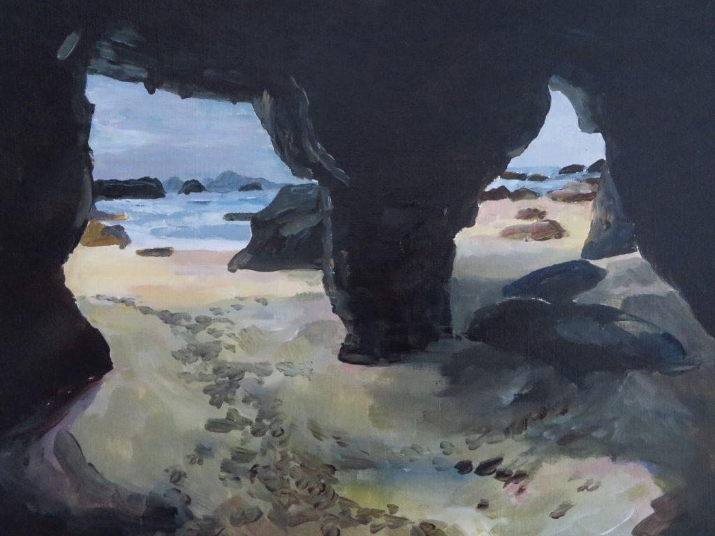beach caves Oregon Coast Trail painting by Kristen O'Neill